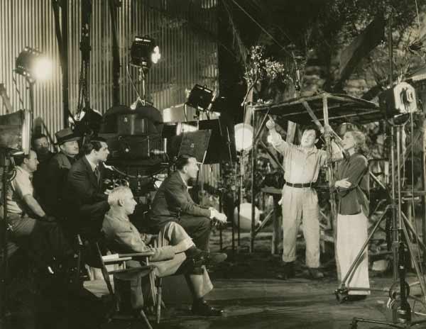 استاد هاوارد هاکس (یا به قولی دیگر هاکز) شاهکارش فقط فرشتهها بال دارند را کارگردانی میکند، به سال 1939. او در تصویر کت و شلوار روشن پوشیده و پا روی پا انداخته است. بالای سر او، نزدیک دوربین، کری گرانت بازیگر اصلی فیلم را میبینیم که دارد به بازی همکارانش در این صحنه نگاه میکند
