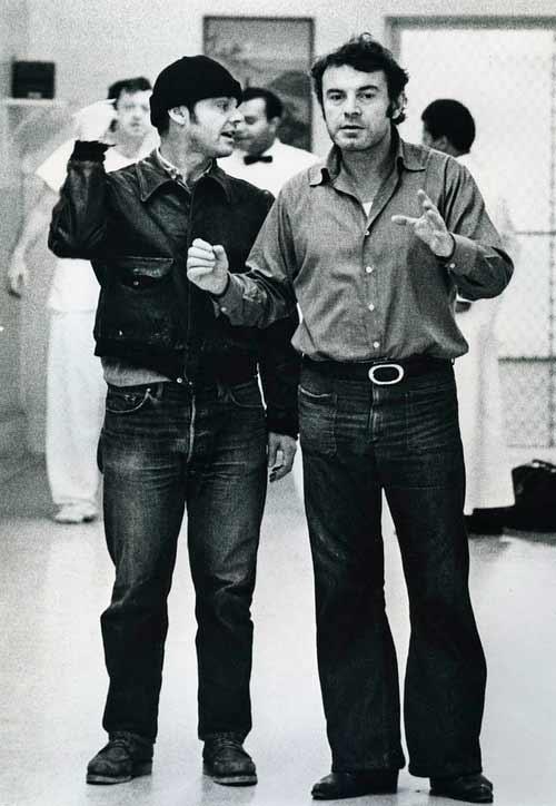 جک نیکلسون و میلوش فورمن پشت صحنهی پرواز بر فراز آشیانهی فاخته